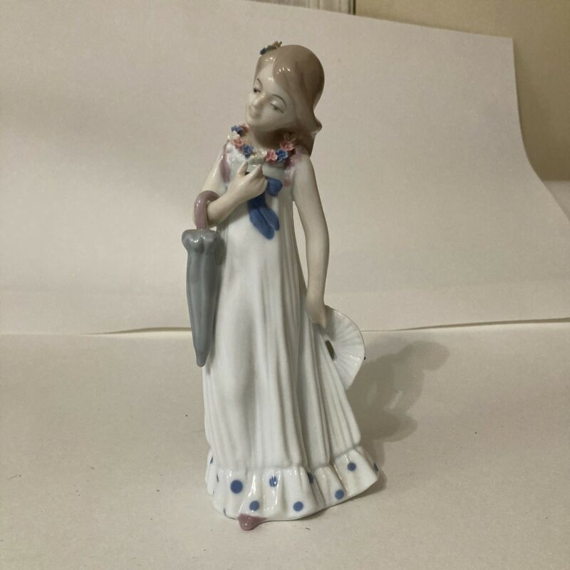 Mallorca Studio Porcelain Figurine Girl with Umbrella Hat and Floral Decorations