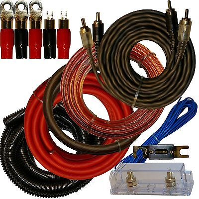 0 Gauge Amplfier Power Kit for Amp Install Wiring Complete 1/0 Ga Cables 4500W