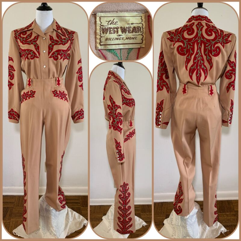 40s VAQUERO Pearl Snap Cut Out Chain Stitch 2 Pc Western Cowgirl Rodeo Suit VTG