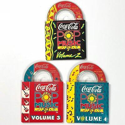 Coca Cola Pop Music 3 Mini CD Promo Lot Vols 2-4 1991 3in CD Coke Rock Dance (Pop Rocks In Bulk)