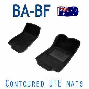 MOULDED-CONTOUR-FIT-Car-Floor-Car-Mats-BA-BF-FORD-FALCON-UTE-Black-Front-Pair