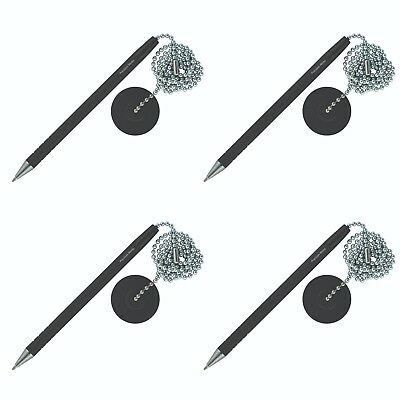 - 4 Pack - Secure Counter Pen With Adhesive Base & Metal Chain - Black Ink