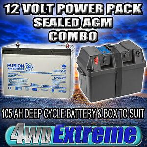 POWER BATTERY BOX 12V 105AH 750CCA,DEEP CYCLE AGM DUAL 100AH PROJECTA BPE330