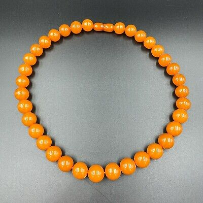 Vintage to Antique Lot of 85 Count Orange and Yellow Small Glass Tube Beads
