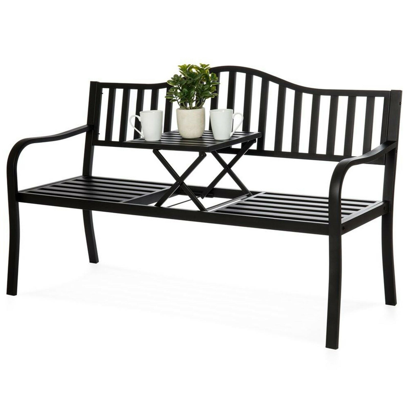 Picture of: Metal Garden Bench Cast Iron Patio Furniture Porch Seat Adjustable Table Steel 718569027351 Ebay
