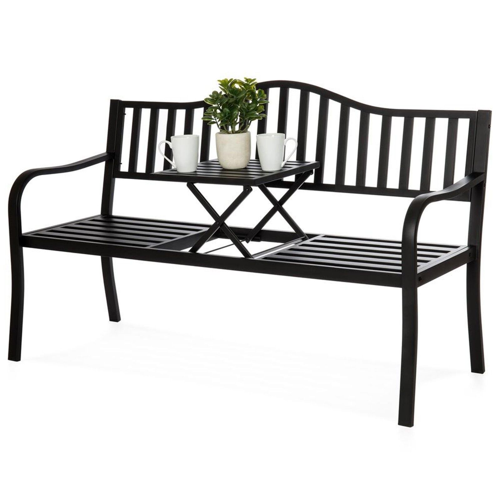 Metal Garden Bench Cast Iron Patio Furniture Porch Seat Adjustable