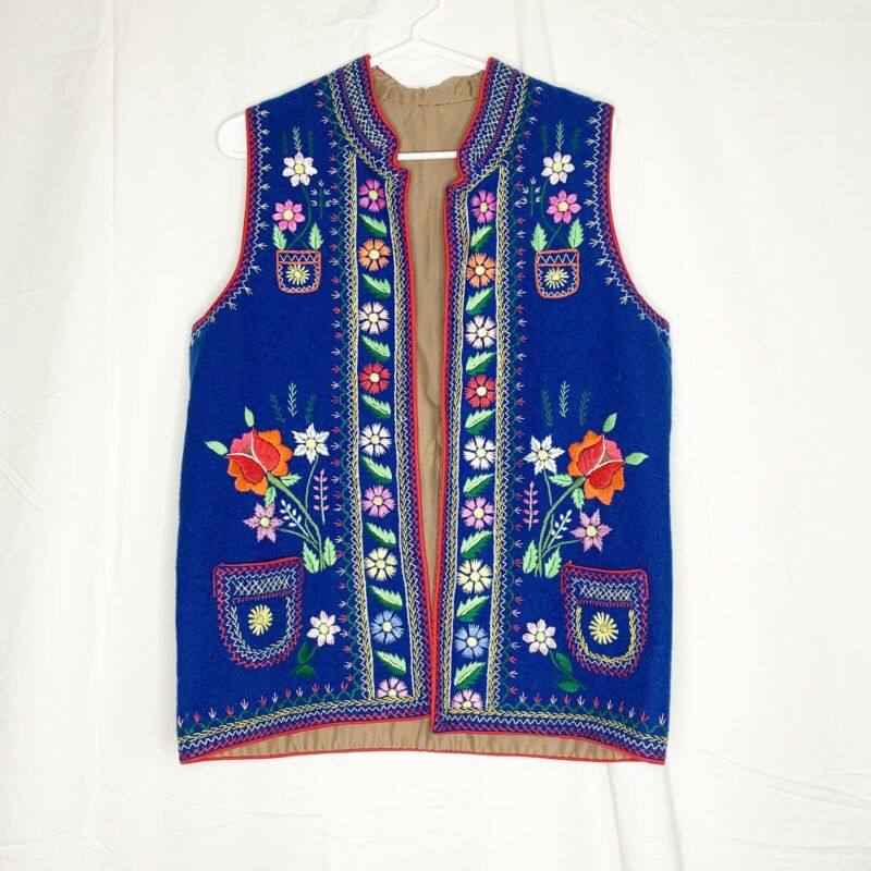 Vintage Boho Mexican Festive Embroidered Wool Vest Unique Beautiful!  Free Ship!