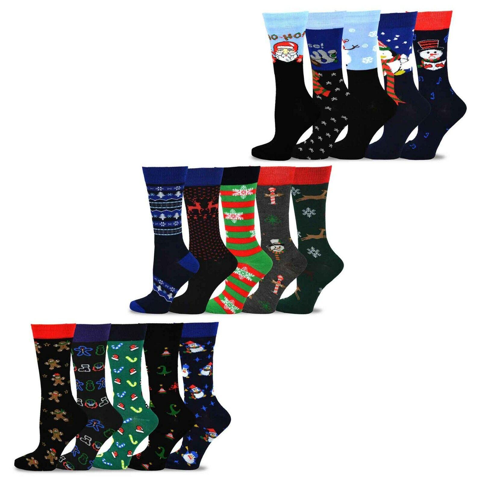 TeeHee Christmas & Holiday Fun Crew Socks for Women 5-Pack S