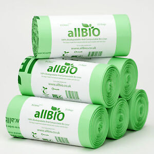 8L AllBIO 100 Compostable Food Waste Kitchen Caddy Liners