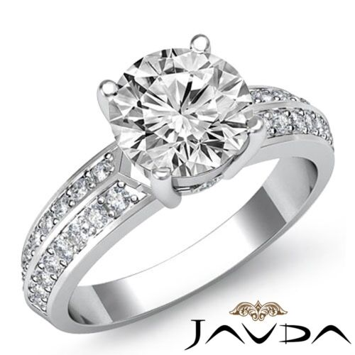 1.8ct Natural Round Diamond Engagement Pave Set Ring GIA F VS2 14k White Gold