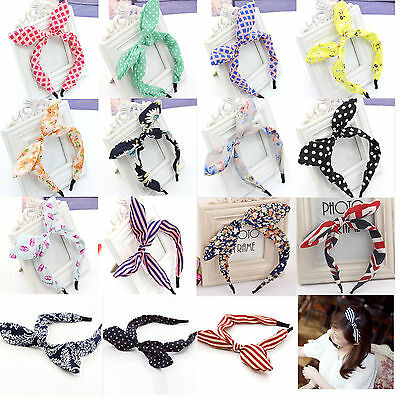 New Wide Ribbon Bowknot Headband Hairband Wire Bendy Bow Rabbit Bunny Ear