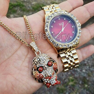 Iced Out 6ix9ine Saw Inspired Necklace & Red Face Gold plated Metal Watch - Face Gold Metal