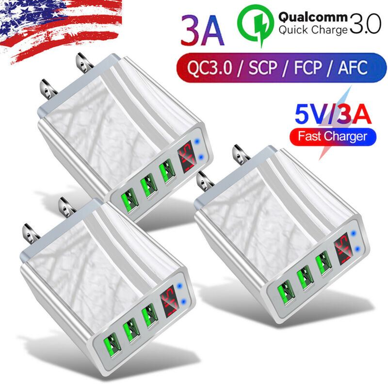 3PACK 3 Port Fast Quick QC 3.0 USB Hub Wall Charger Power Adapter US Plug Charge