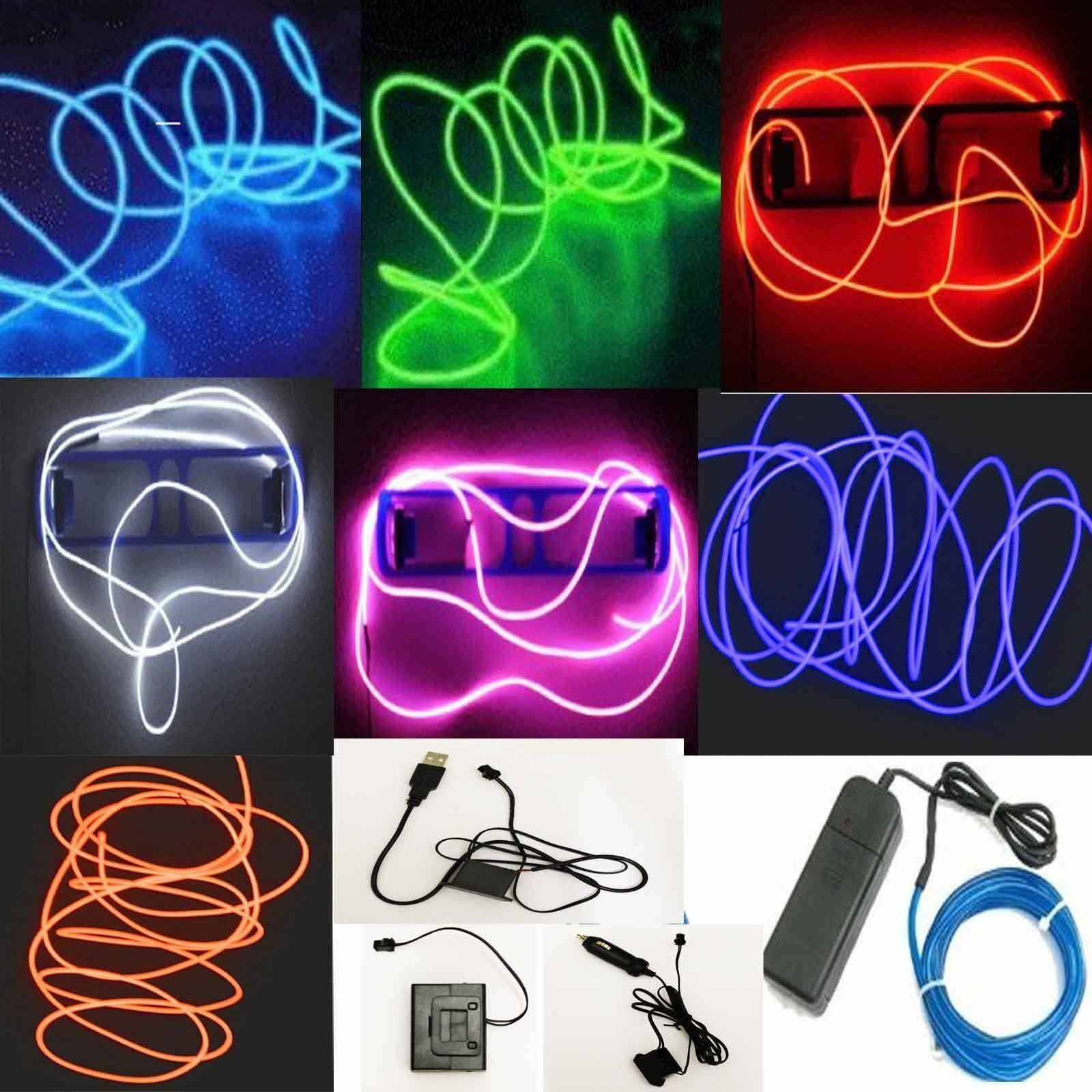 Glow EL Wire String Neon LED Light Strip Rope Tube Decor Car Party Controller
