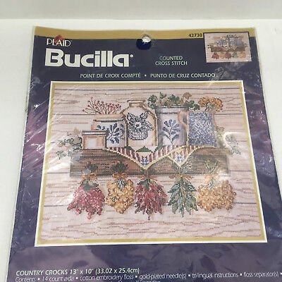 Bucilla counted cross stitch kit 42730 country crocks pattern  Bucilla Cross Stitch Patterns