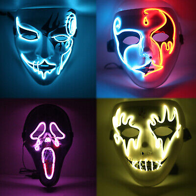 Halloween El Wire Light Up LED Mask Neon Rave Horrific Cosplay Party Costume