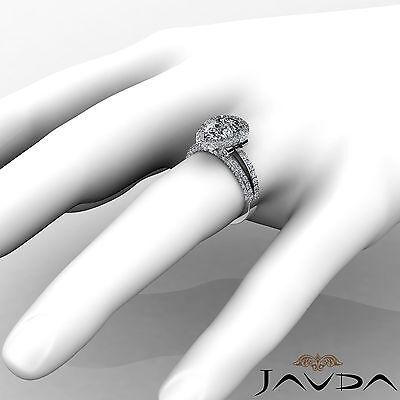 Bridge Accent Halo Pave Bezel Set Pear Diamond Engagement Ring GIA H SI1 2.52Ct 3