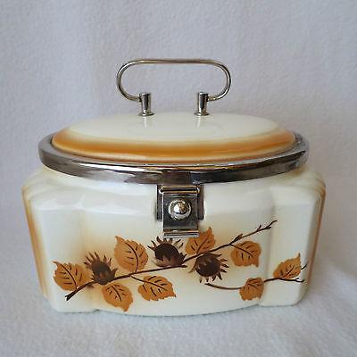 sehr schöne alte Keramik Deckeldose Spritzdekor Art Deco mit Metallmontur Rar