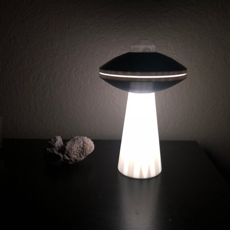 UFO with Tractor Beam, UFO SciFi Lamp with LED, Alien Saucer with RGB LED