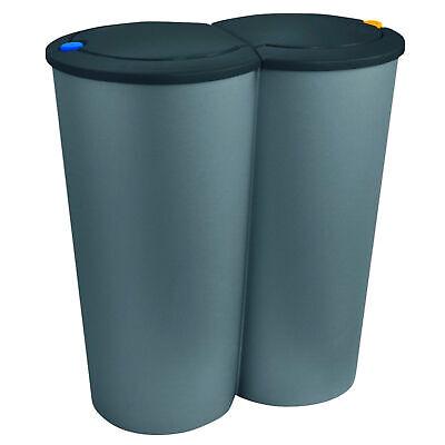 2-fach Mülleimer Doppel Duomülleimer Abfalleimer Mülltrenner Müllsammler Silber