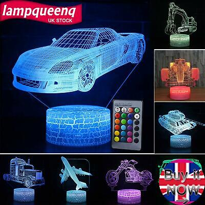 3D Illusion Car LED Night Light Gifts Colour Changing Touch Table Desk Mood Lamp