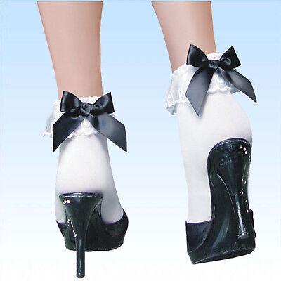 Söckchen mit schwarzer Schleife und Spitze Socken Strumpf Strümpfe Feinstrümpfe