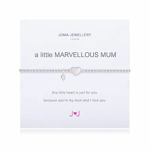 Joma Jewellery a little Marvellous Mum pearl heart silver plated bracelet in bag