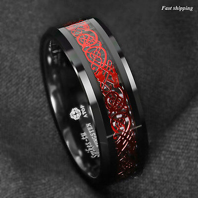 Cerise Jewelry - 8mm Black Tungsten Ring Red Celtic Dragon Black carbon fiber Ring ATOP Jewelry