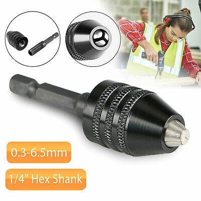 """1/4"""" Hex Shank Keyless Drill Chuck Quick Change Bit Driver Converter Adaptor"""