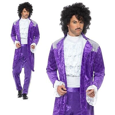 80's 1980s Purple Rain Adult Fancy Dress Outfit M-XL (Purple Rain Outfit)