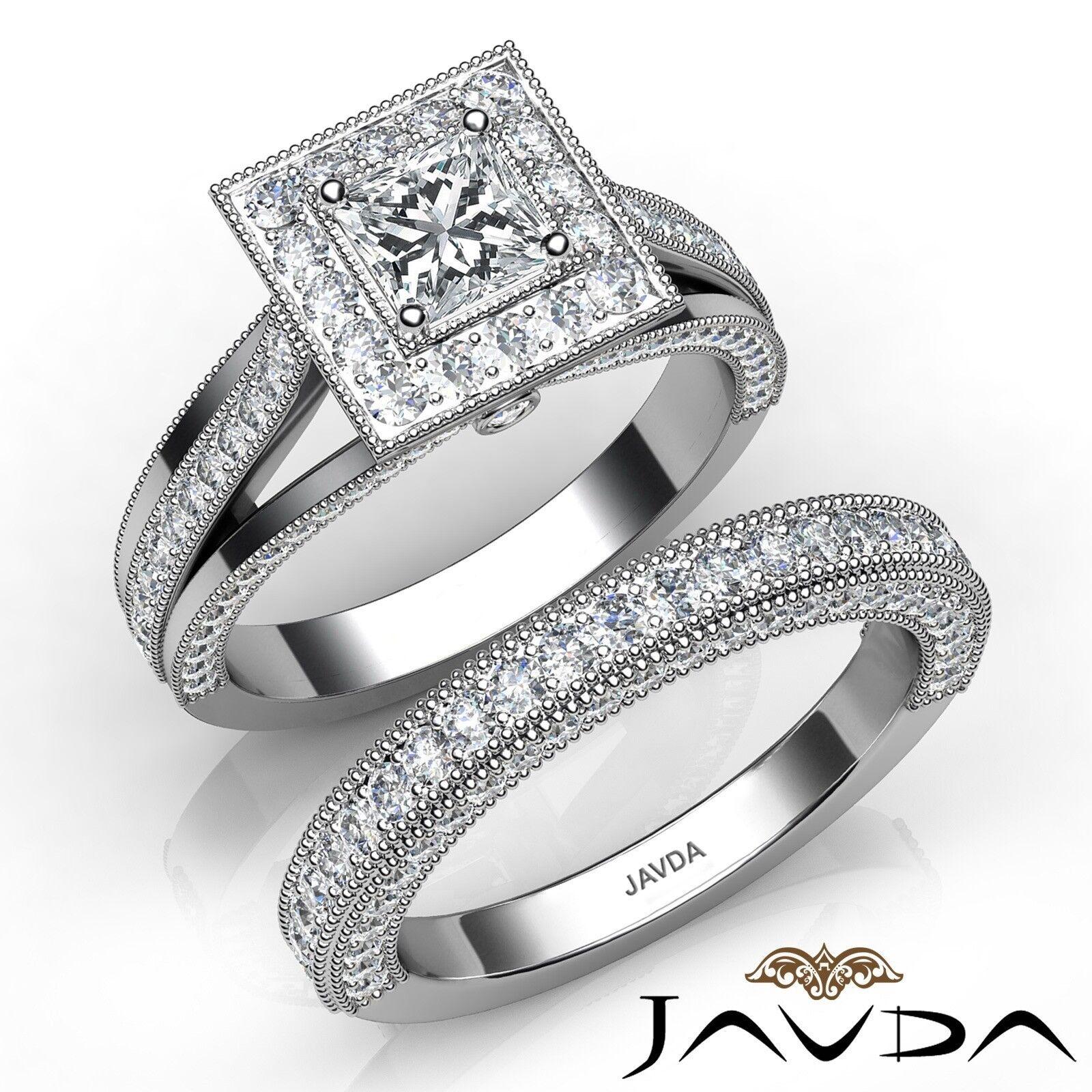 2.66ctw Milgrain Halo Bridal Set Princess Diamond Engagement Ring GIA F-SI2 Gold