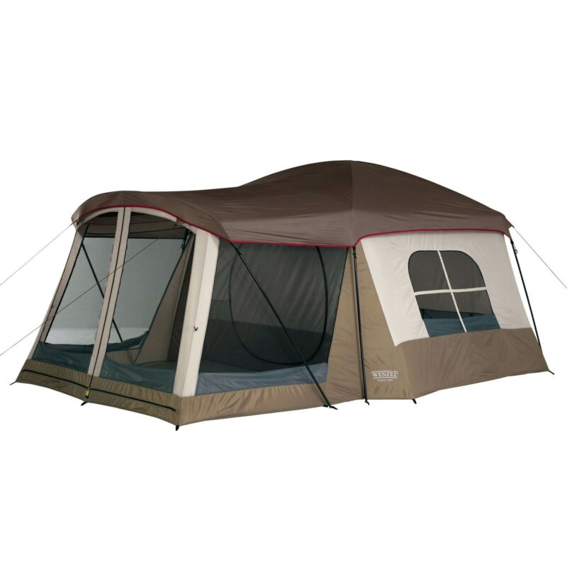 Wenzel Klondike 8-Person Large Outdoor Camping Tent w/Screen Room, Brown