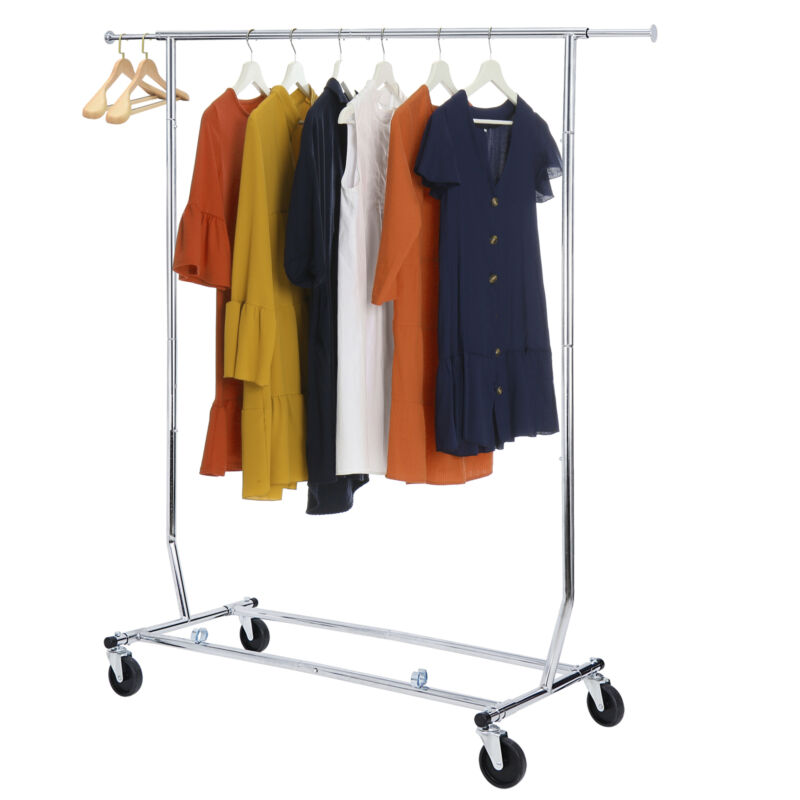 Heavy Duty Commercial Garment Rack Rolling Collapsible Clothing Shelf w/ Wheels