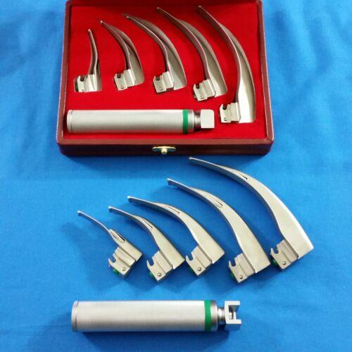 NEW Original FIBER OPTIC Laryngoscope Mac Set 5 BLADE & HANDLE EMT Anesthesia