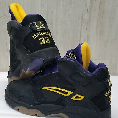 1993 VINTAGE LA GEAR THE MAILMAN 32 KARL MALONE NBA SHOES HI TOPS 90`S Size 5