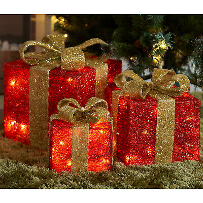 Light Up Gift Boxes Presents Set of 3 Christmas Glitter LED Indoor Decoration UK ()