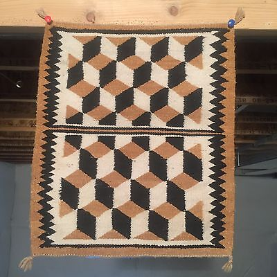 1950's NAVAJO SAMPLER RUG 18.5x21.5 BLANKET NATIVE AMERICAN Weaving textile