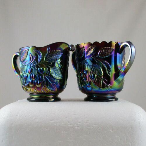 FENTON HANGING CHERRIES PURPLE CARNIVAL GLASS CREAM & SUGAR SET
