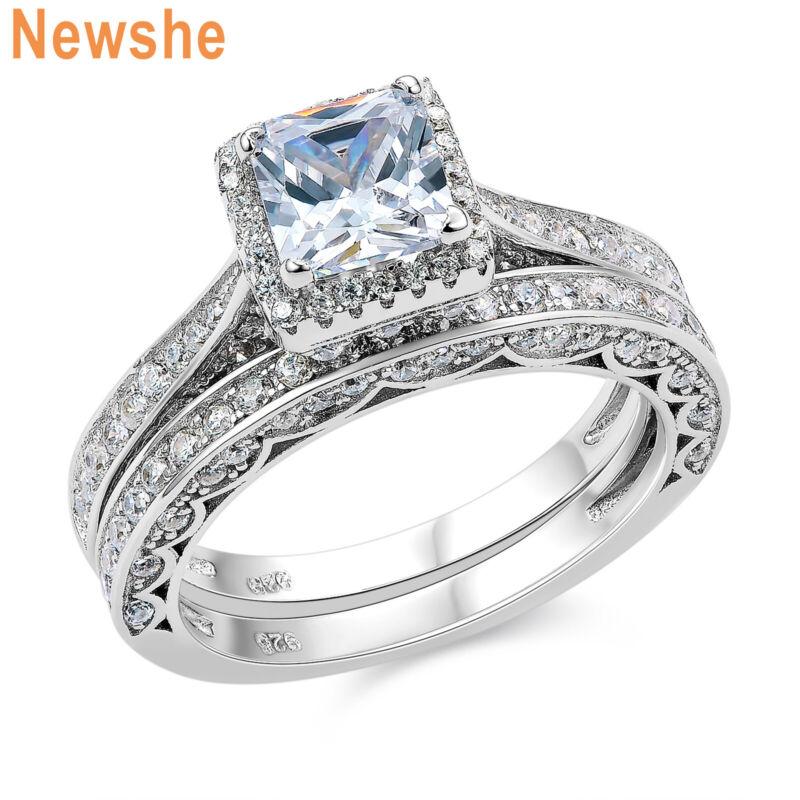 Newshe Wedding Engagement Ring Set Princess White Cz 925 Sterling Silver Sz 5-12