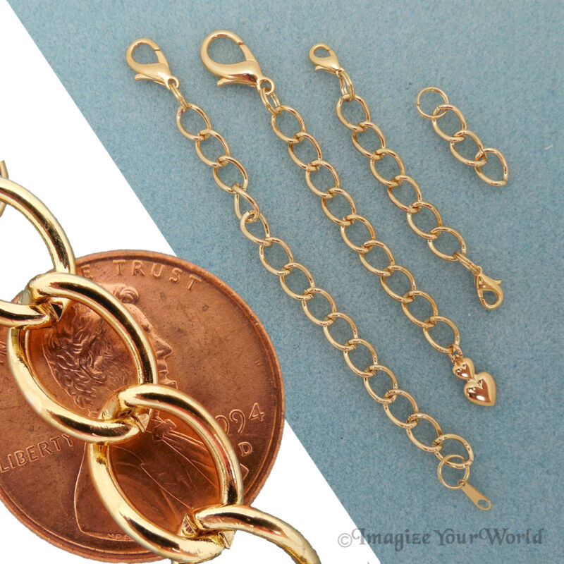 Custom large GOLD Finished/Tone Extender Chain for heavy jewelry adjust. + S8H