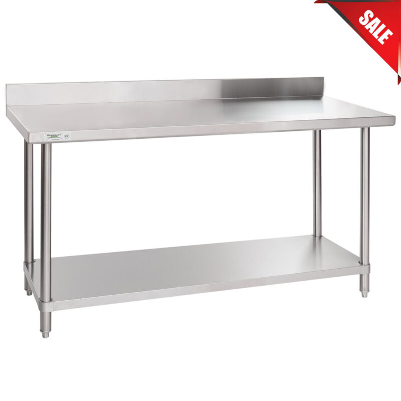 """24"""" x 60"""" 16 Gauge ALL Stainless Steel Commercial Work Table 4"""" Backsplash Stand"""