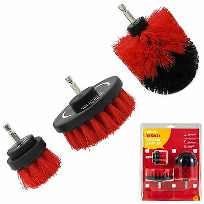 Amtech 3pc Scrubbing Brush Set Electric Power Drill Cleaning Attachment Brushes