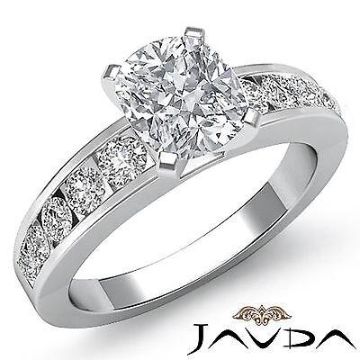 Cushion Diamond Semi-Bezel Set Engagement Ring GIA I SI1 14k White Gold 1.7 ct