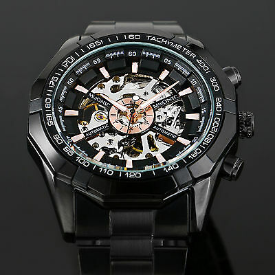 New Men's Skeleton Stainless Steel Automatic Mechanical Sport Wrist Watch Black