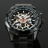 New Men's Skeleton Stainless Steel Automatic Mechanical Sport Wrist Watch Black