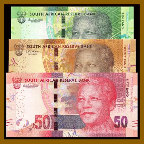 South Africa 10 20 50 Rand (3 Pcs Set), 2018 P-New Mandela Centenary Comm. Unc