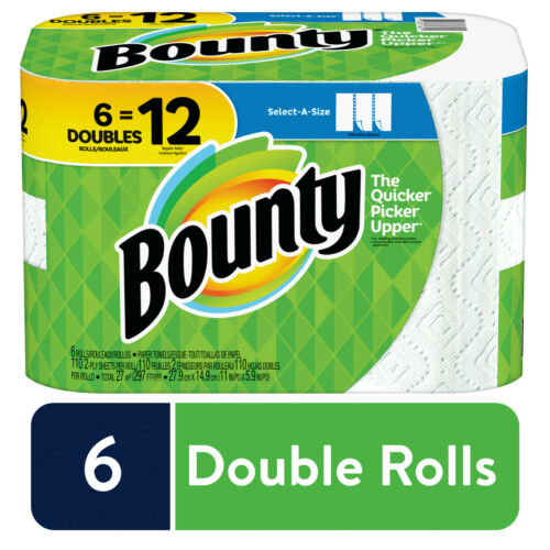 Bounty Paper Rolls - White, Pack of 6, Double 6 = 12 Rolls