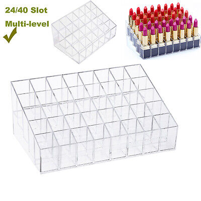 Lipstick Holder Display Stand 24/40 Deep Slot Acrylic Makeup Storage Organizer