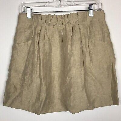 J Crew Skirt Size 2 XS Tan Charter Linen Pockets Lined Pleated Mini Khaki Beige