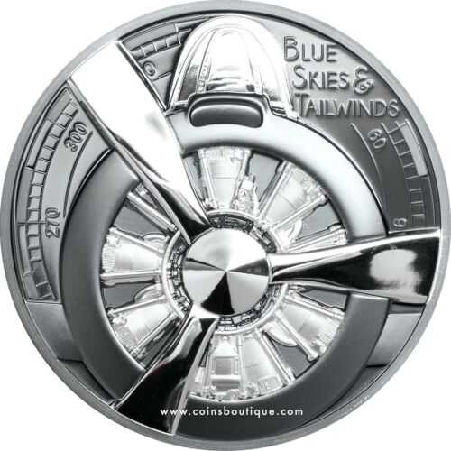 Airplane Propeller – Blue Skies 2 oz High Relief Black Proof Silver Coin CI 2020